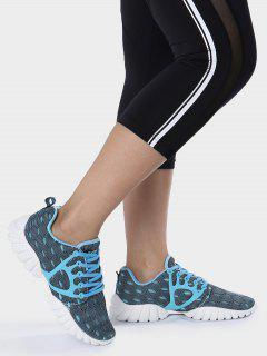 Breathable Mesh Geometric Pattern Athletic Shoes - Blue 38