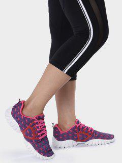 Breathable Mesh Geometric Pattern Athletic Shoes - Purple 38