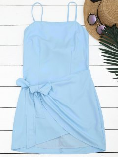 Cut Out Bowknot Mini Slip Dress - Light Blue L