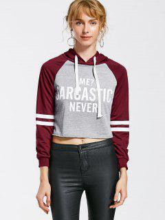 Stripes Panel Letter Two Tone Hoodie - Burgundy M