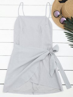 Slit Knotted Mini Slip Dress - Gray M