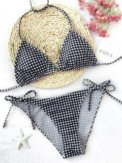 Plaid Halter String Bikini Set - Plaid M