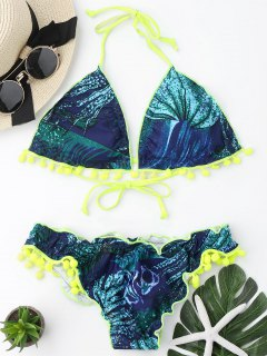 Neon Pom Pom Printed Padded Bikini Set - Blue And Green L