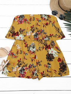 Overlay Floral Strapless Romper - Yellow S
