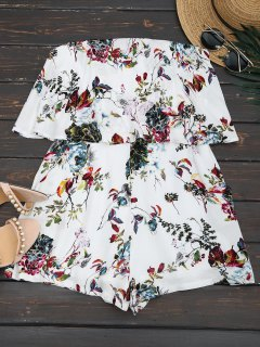 Overlay Floral Strapless Romper - Blanc S