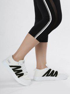 Breathable Tie Up Mesh Skate Shoes - White 37