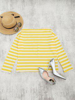 Off The Shoulder Striped Drop Shoulder Tee - Yellow M