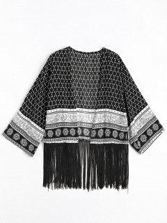 Blusa Franjada Con Estampado Tribal - Negro L