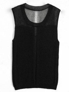 Round Collar Knitted Tank Top - Black