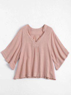 Three Quarter Sleeve V Neck Blouse - Pink S