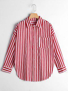 Button Up Drop Shoulder Striped Pocket Shirt - Red Stripe M