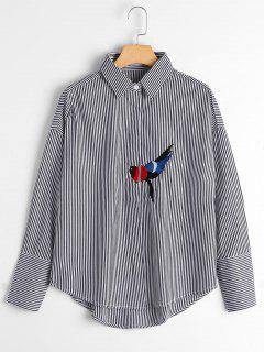 Bird Patched Drop Shoulder Striped Shirt - Black S