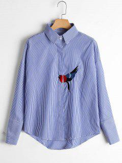 Bird Patched Drop Shoulder Striped Shirt - Blue M