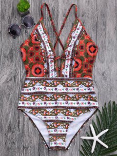 Tribal Print Floral Backless Swimsuit - M