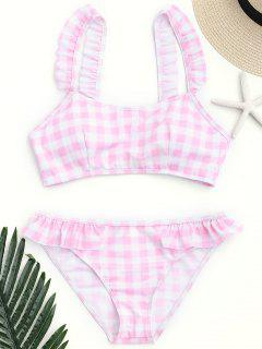 Checked Ruffled Bathing Suit - Pink And White S