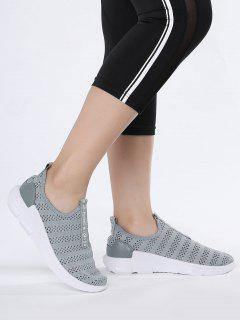 Breathable Mesh Letter Pattern Athletic Shoes - Gray 37