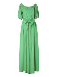 Slash Neck Green Half Sleeve Dress - Green S