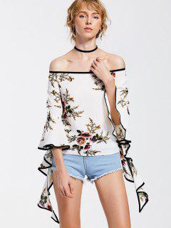 Off The Shoulder Spiral Sleeve Floral Blouse - Floral M