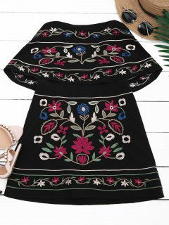 Overlay Floral Embroidered Tube Dress - Black L