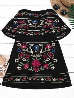 Vestido Floral Con Bordes - Negro L