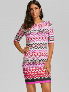 Zigzag Zipper Back Sheath Dress - Xl