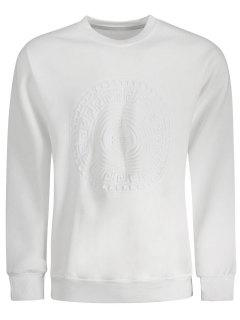 Embossed Graphic Crewneck Mens Sweatshirt - White L