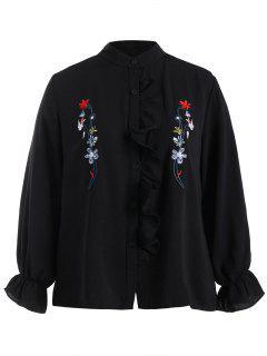 Plus Size Flounce Floral Embroidered Shirt - Black 4xl