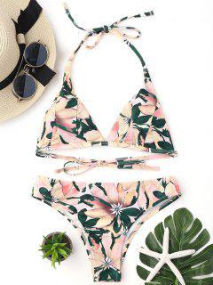 Floral Print Halter Padded Bikini Set - Multicolor L