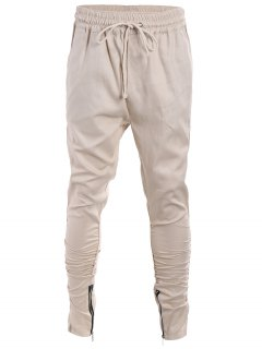 Slim Fit Drawstring Mens Twill Pants - Khaki L