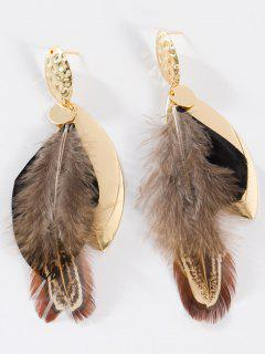 Feather Embellished Alloy Leaf Drop Earrings - Black