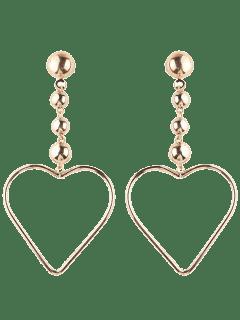 Hollow Out Heart Drop Earrings - Golden
