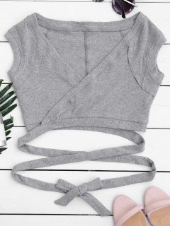 Crossover Ribbed Wrap Top - Gray M