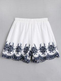 Pantalones Cortos Bordados Florales De Alta Cintura - Blanco Xl