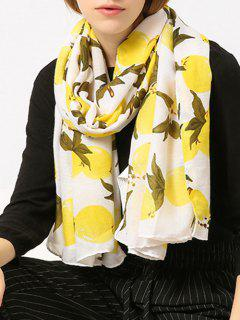 Cotton Blend Lemon Pattern Shawl Scarf - Yellow