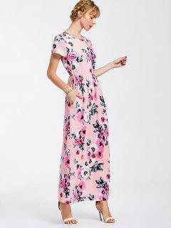 Floral Print Round Collar Maxi Dress - Pink L