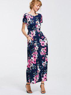 Floral Print Round Collar Maxi Dress - Purplish Blue Xl