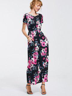 Floral Print Round Collar Maxi Dress - Black M