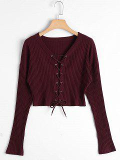 Lace Up Ribbed Knitted Crop Tee - Claret S