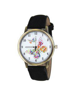 Faux Leather Strap Butterfly Face Watch - Black
