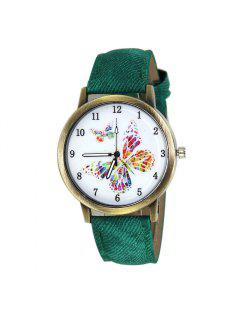 Faux Leather Strap Butterfly Face Watch - Green