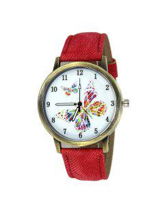 Faux Leather Strap Butterfly Face Watch - Red