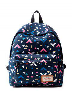 Casual Printed Nylon Backpack - Black