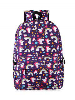 Cartoon Unicorn Print Backpack - Purple