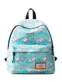 Casual Printed Nylon Backpack - Azure
