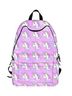 Cartoon Unicorn Print Backpack - Light Purple