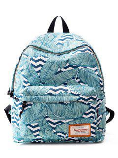 Casual Printed Nylon Backpack - Blue Green
