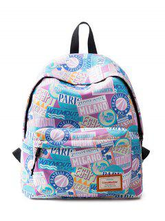 Casual Printed Nylon Backpack - Pink