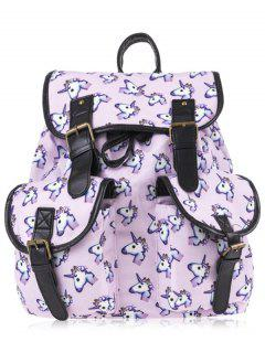 Unicorn Print Buckles Backpack - Pinkish Purple