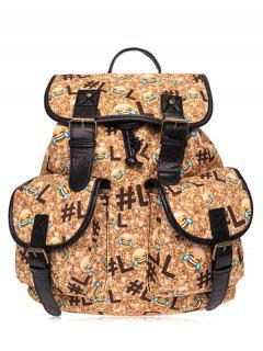 Buckles Emoji Printed Backpack - Yellow