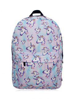 Unicorn Print Backpack - Pinkish Blue